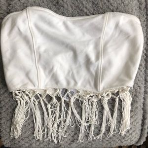 NWT F21 White Tube Top with Fringe detail